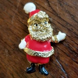 Vintage Santa Claus brooch enamel pin gold red